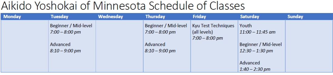 schedule of classes