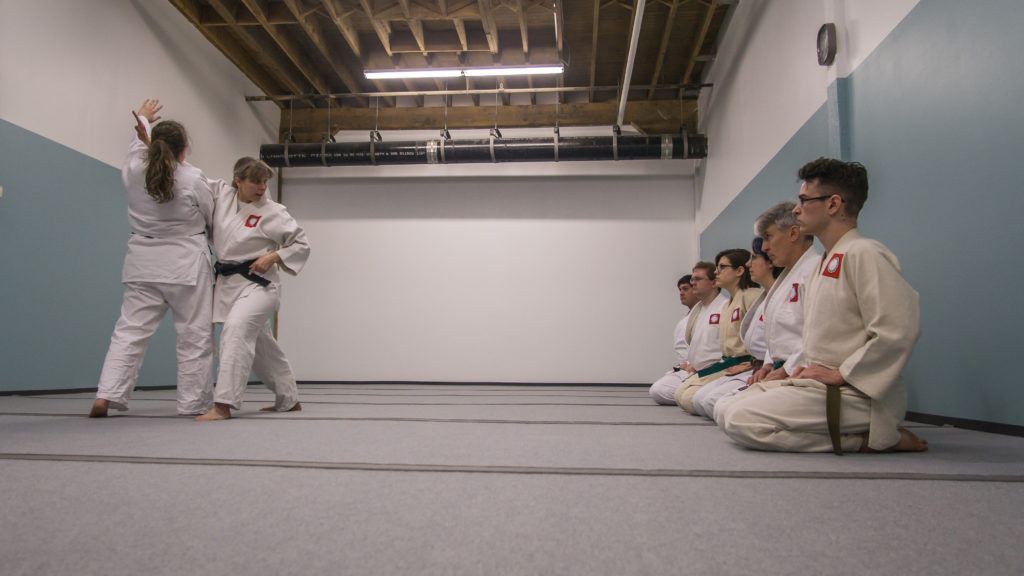 Aikido instructor demonstrates a technique for the class